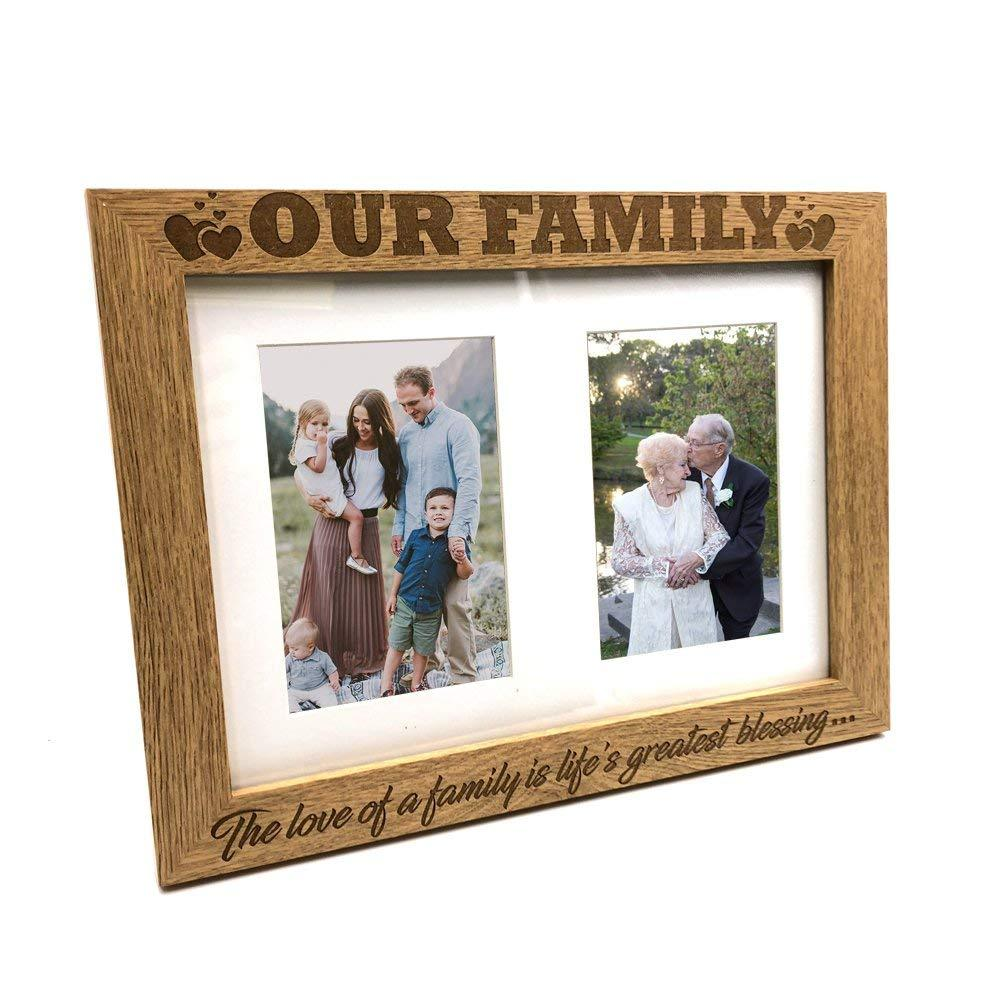 Family Sentiment Double Wooden Photo Frame Gift - ukgiftstoreonline