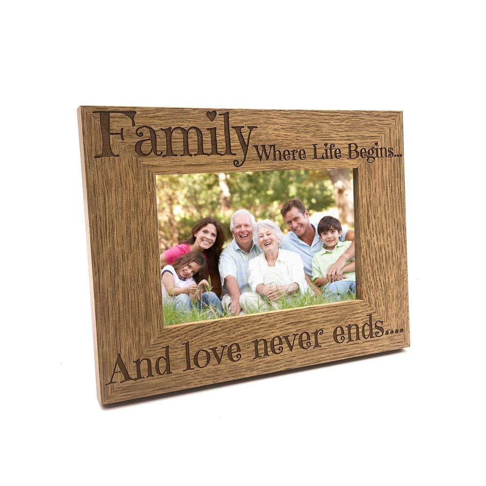 Family Where Life Begins and Love Never Ends Wooden Photo Frame Gift - ukgiftstoreonline