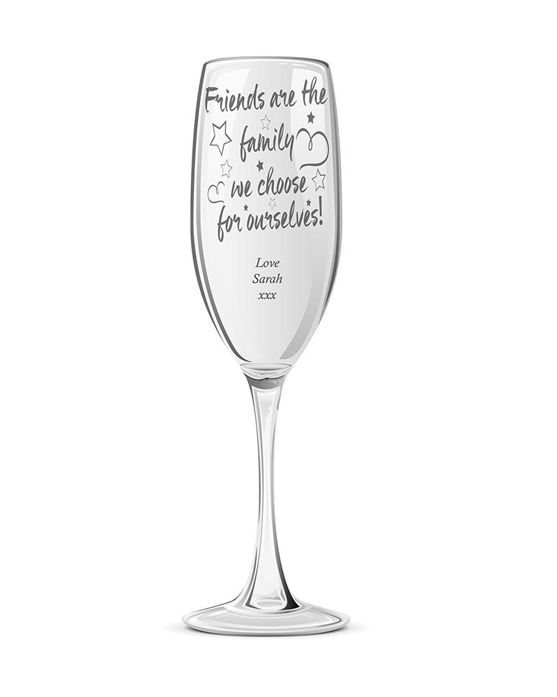 Friends Are Family Personalised Engraved Champagne Prosecco Glass Flute - ukgiftstoreonline