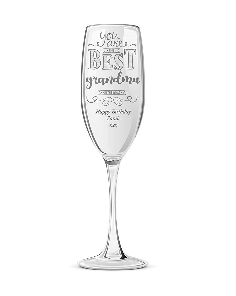 Gift For Grandma Personalised Engraved Champagne Prosecco Glass Flute - ukgiftstoreonline