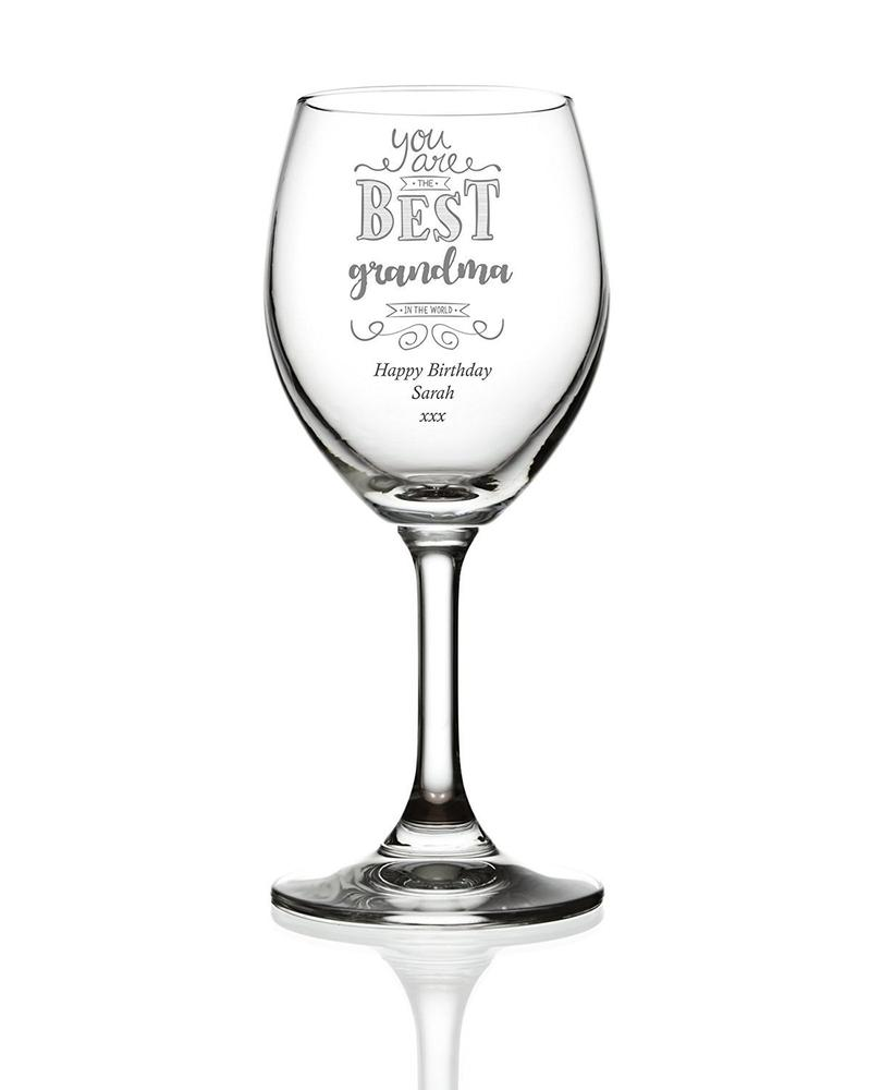 Gift For Grandma Personalised Engraved Wine Glass - ukgiftstoreonline