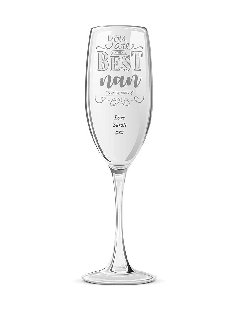 Gift For Nan Personalised Engraved Champagne Prosecco Glass Flute - ukgiftstoreonline