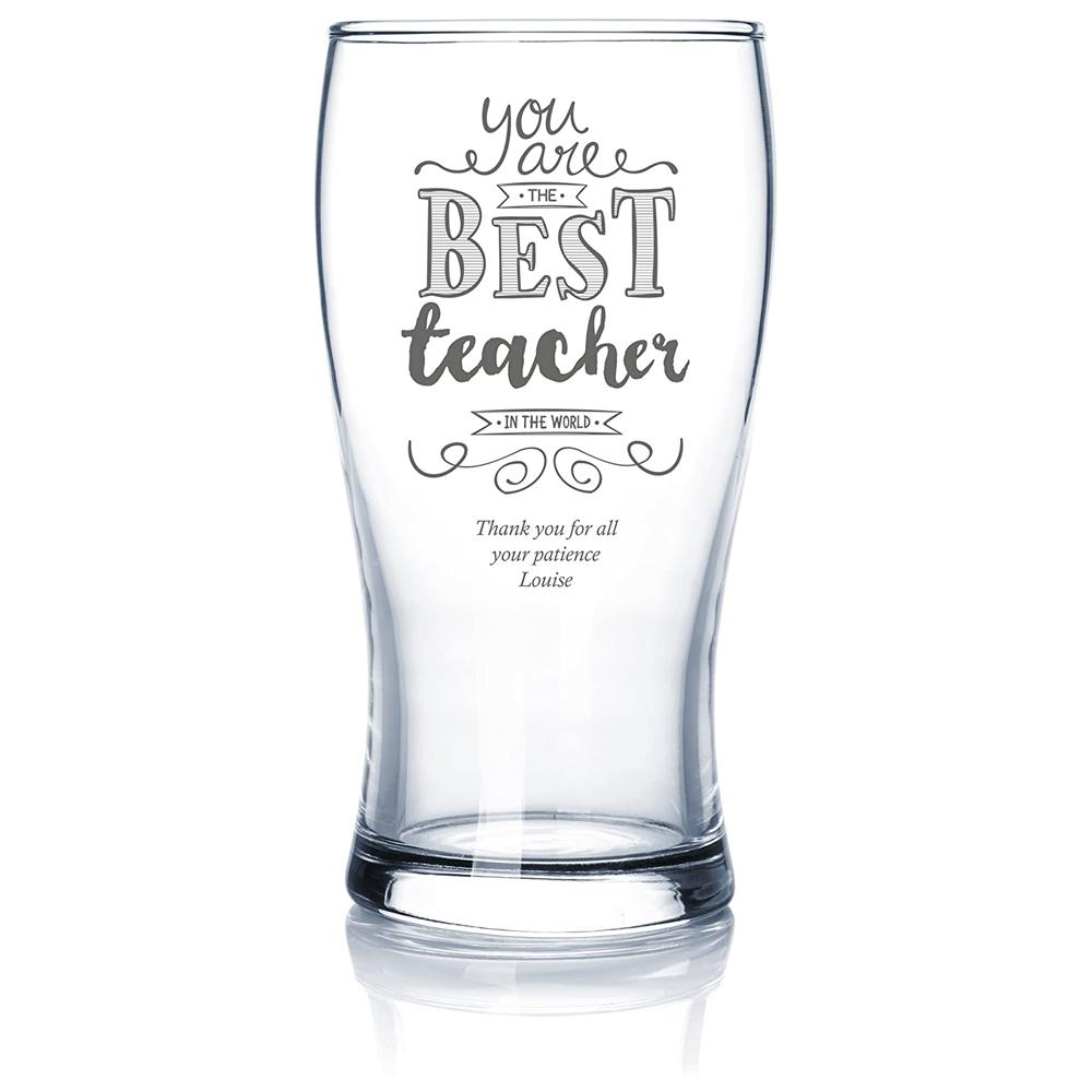 Gift For Teacher Personalised Engraved Beer Glass - ukgiftstoreonline