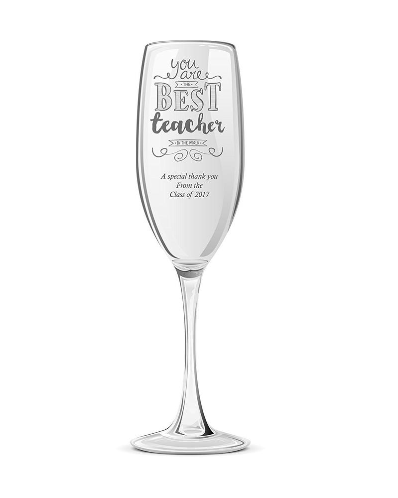 Gift For Teacher Personalised Engraved Champagne Prosecco Glass - ukgiftstoreonline