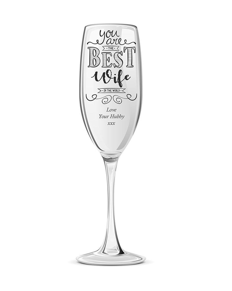 Gift For Wife Personalised Engraved Champagne Prosecco Glass Flute - ukgiftstoreonline