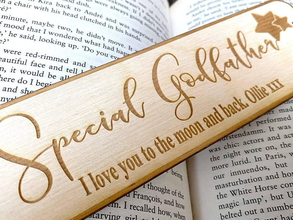Godfather Gift Personalised Wooden Engraved Bookmark - ukgiftstoreonline