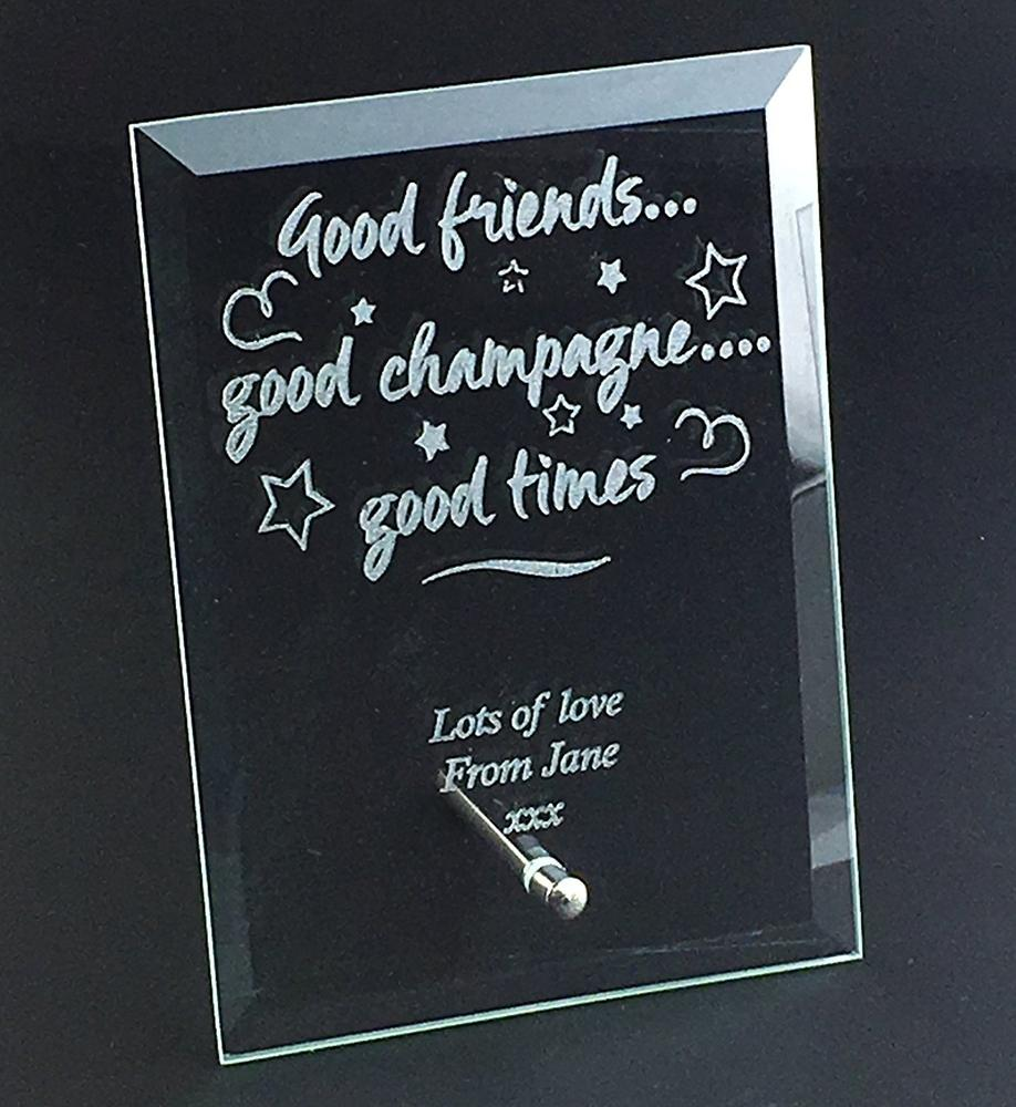 Good Friends and Champagne Personalised Engraved Glass Plaque Gift - ukgiftstoreonline