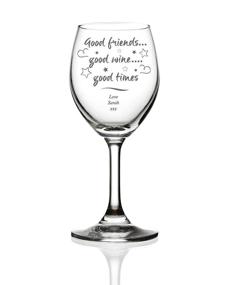 Good Friends Good Wine Personalised Engraved Wine Glass - ukgiftstoreonline