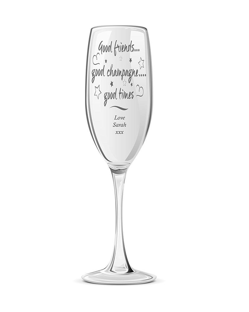 Good Friends Personalised Engraved Champagne Prosecco Glass Flute - ukgiftstoreonline