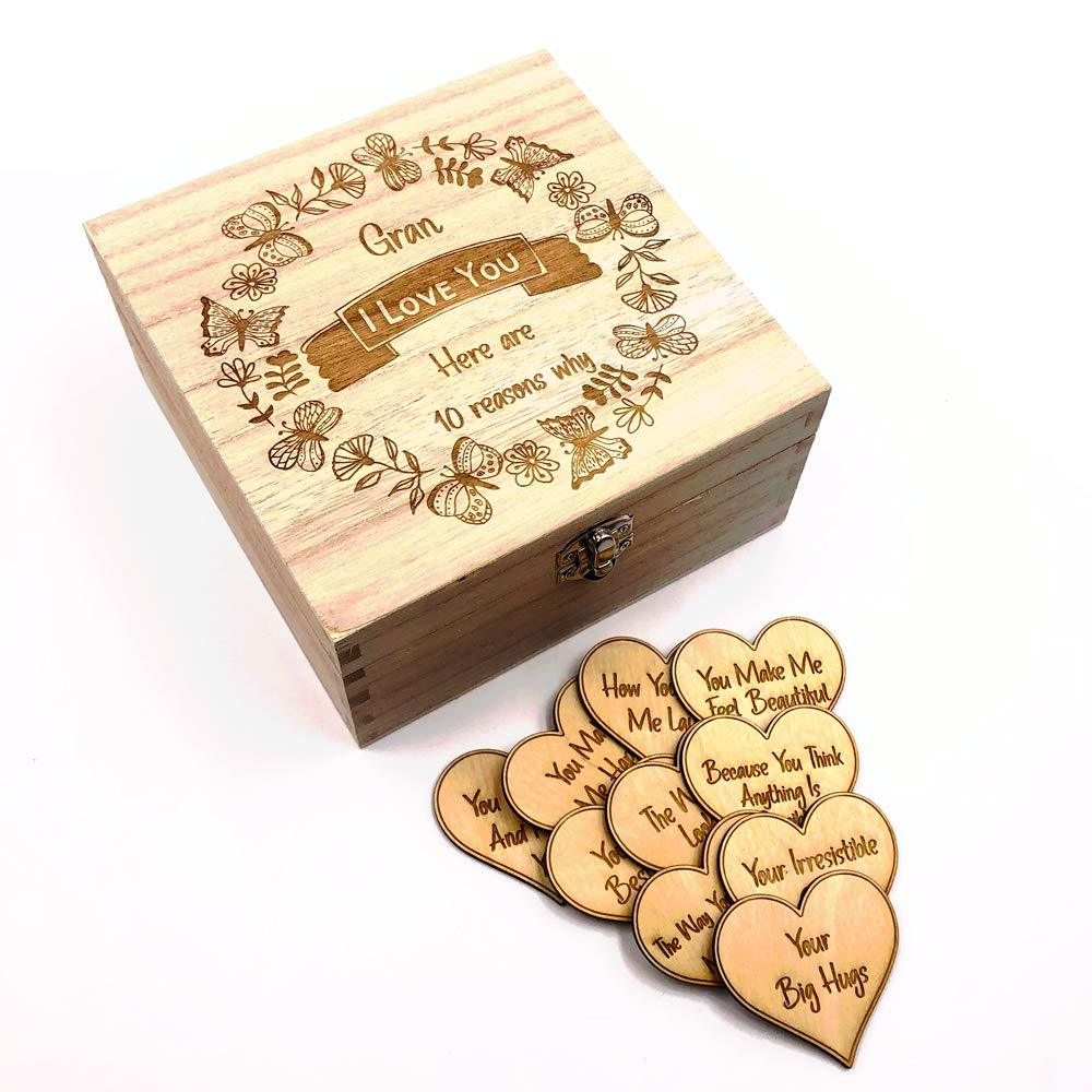 Gran Gift 10 Reasons why I Love You Wooden Box and Hearts - ukgiftstoreonline