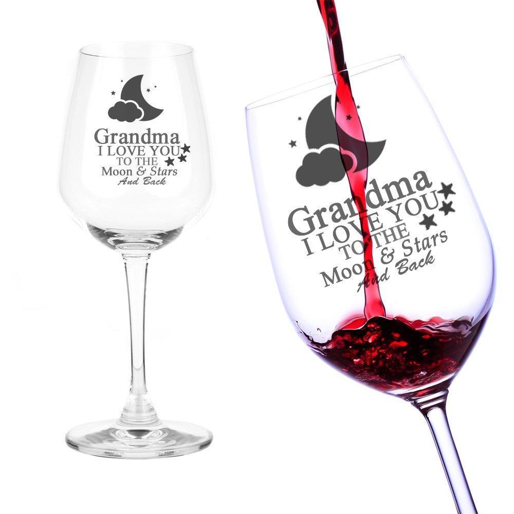 Grandma Gift I Love You To The Moon Engraved Wine Glass - ukgiftstoreonline