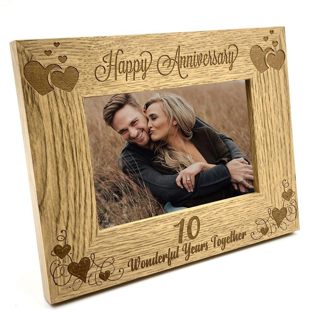 Happy 10th Anniversary Wooden Photo Frame Gift - ukgiftstoreonline