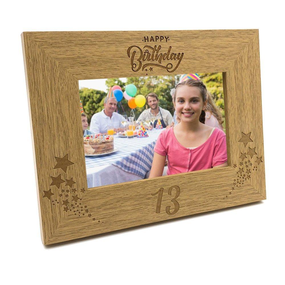 Happy 13th Birthday Wooden Photo Frame Gift - ukgiftstoreonline
