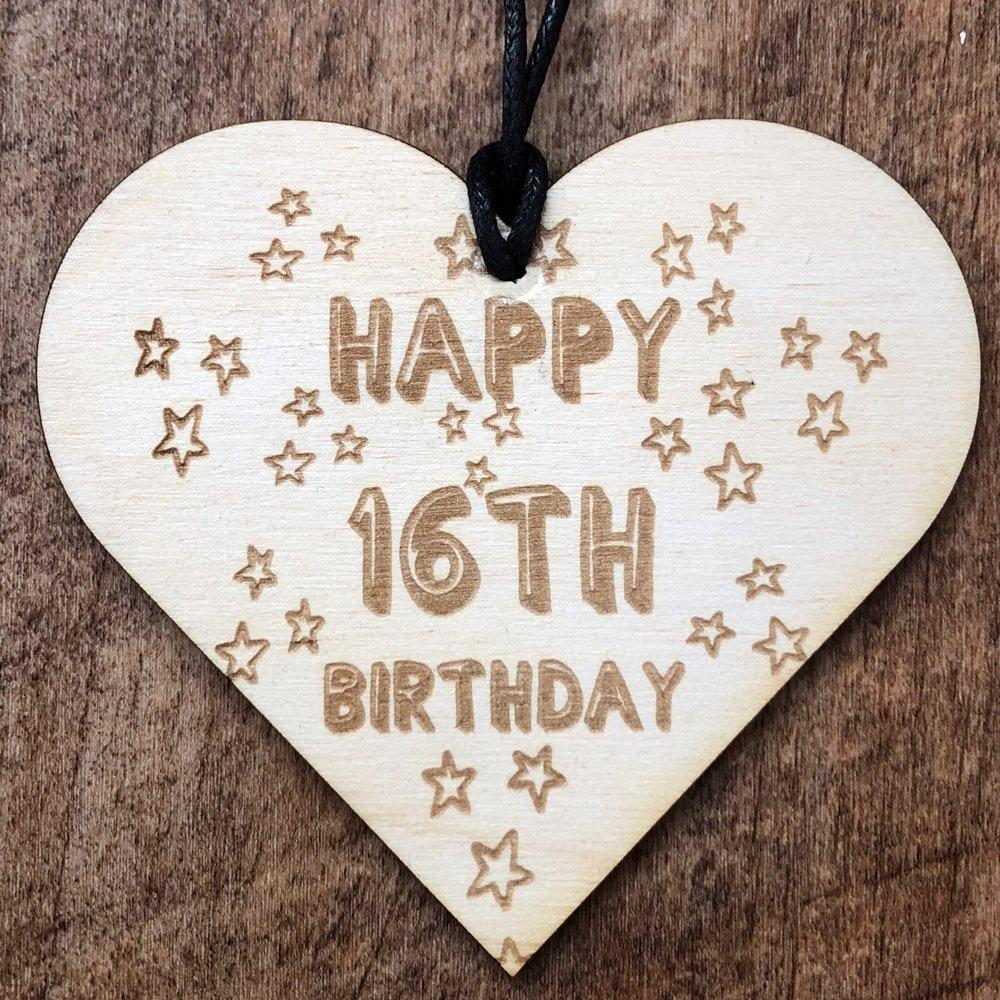 Happy 16th Birthday Stars Hanging Heart Plaque Gift - ukgiftstoreonline