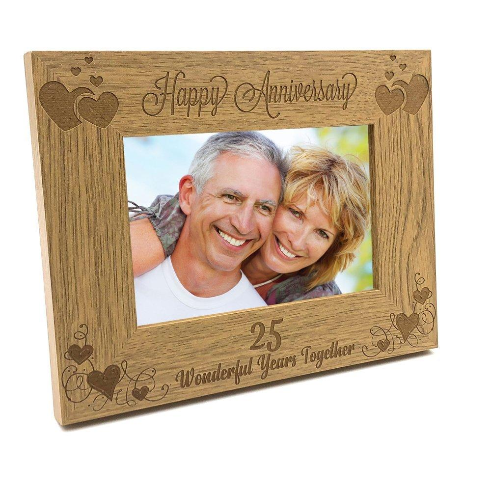 Happy 25th Anniversary Wooden Photo Frame Gift - ukgiftstoreonline