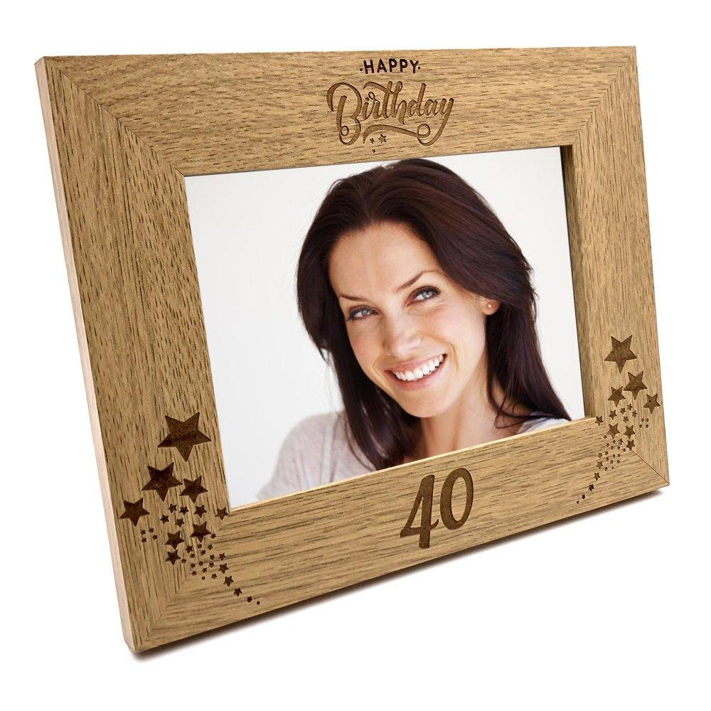 Happy 40th Birthday Wooden Photo Frame Gift - ukgiftstoreonline