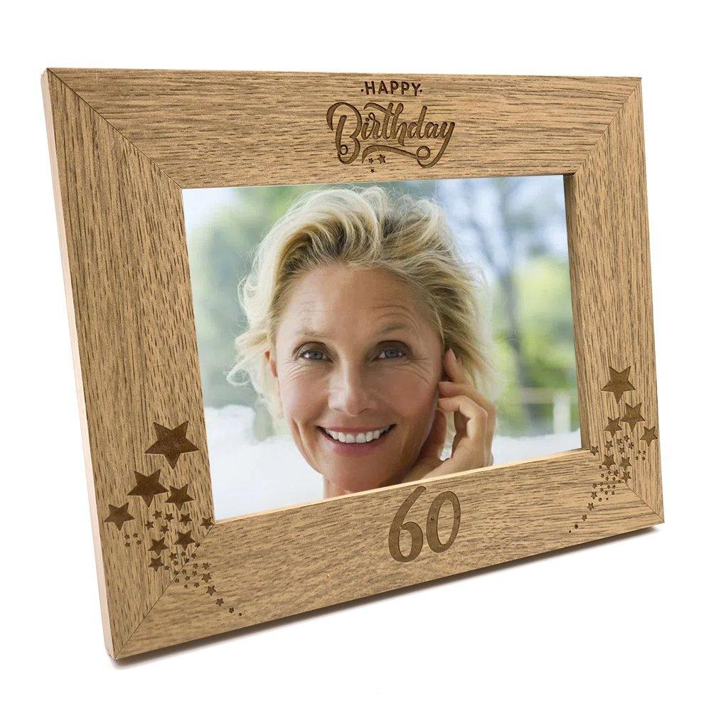 Happy 60th Birthday Wooden Photo Frame Gift - ukgiftstoreonline