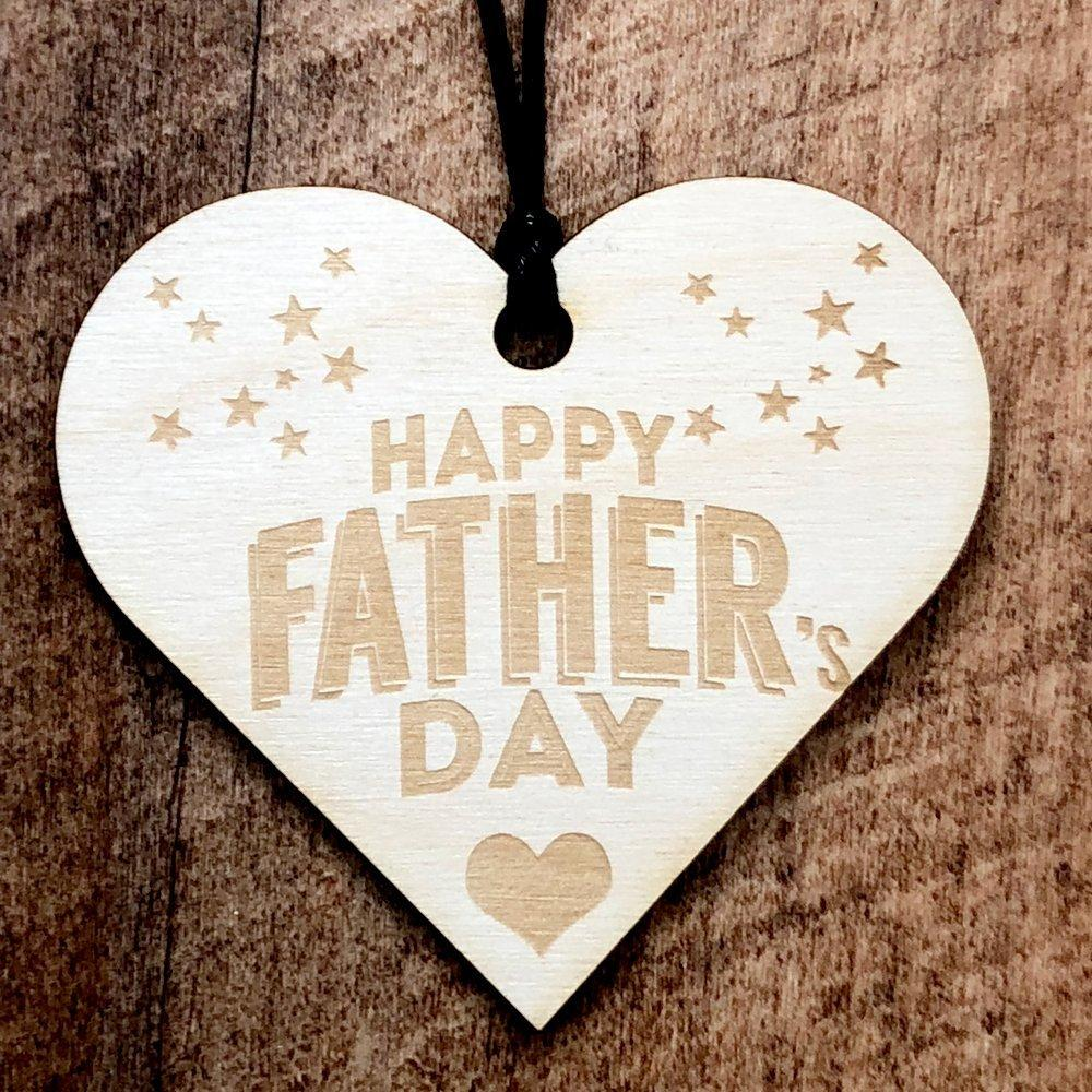 Happy Fathers Day Wooden Hanging Heart Gift Plaque - ukgiftstoreonline