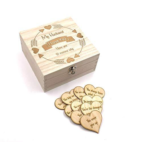 Husband Gift 10 Reasons why I Love You Wooden Box and Hearts - ukgiftstoreonline