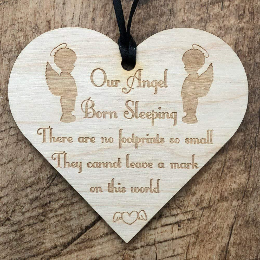 In Loving Memory Baby Boy Born Sleeping Heart Wooden Plaque Gift - ukgiftstoreonline