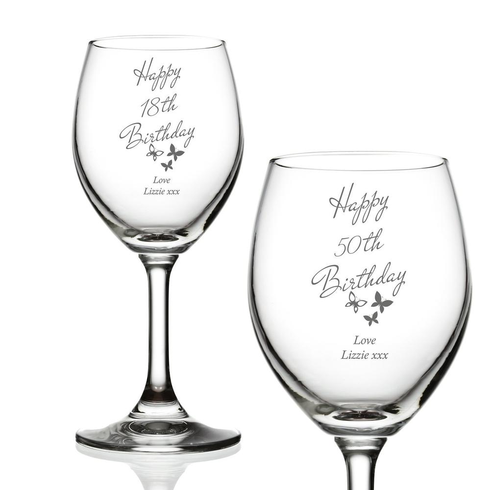 Landmark Birthday Personalised Butterfly Wine Glasses 18th 21st 30th 40th 50th 60th 70th - ukgiftstoreonline
