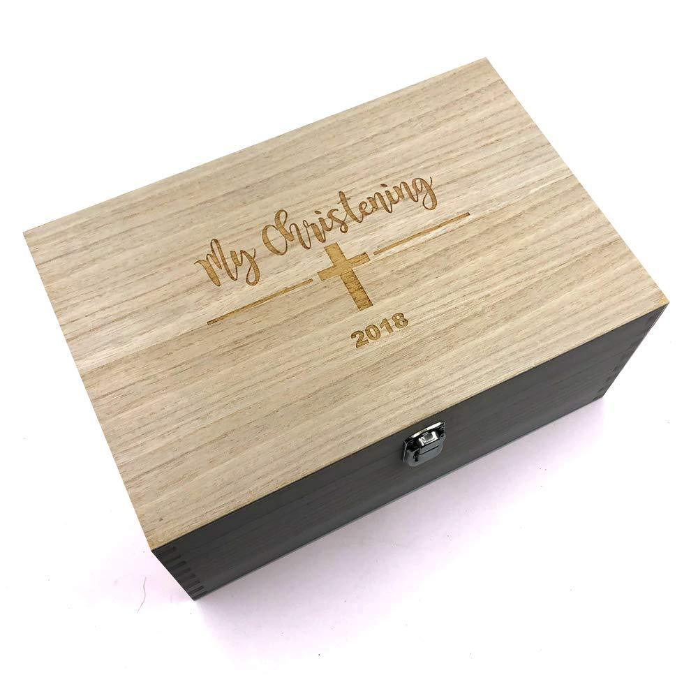 Large Wooden Christening Keepsake Memories Box Gift - ukgiftstoreonline