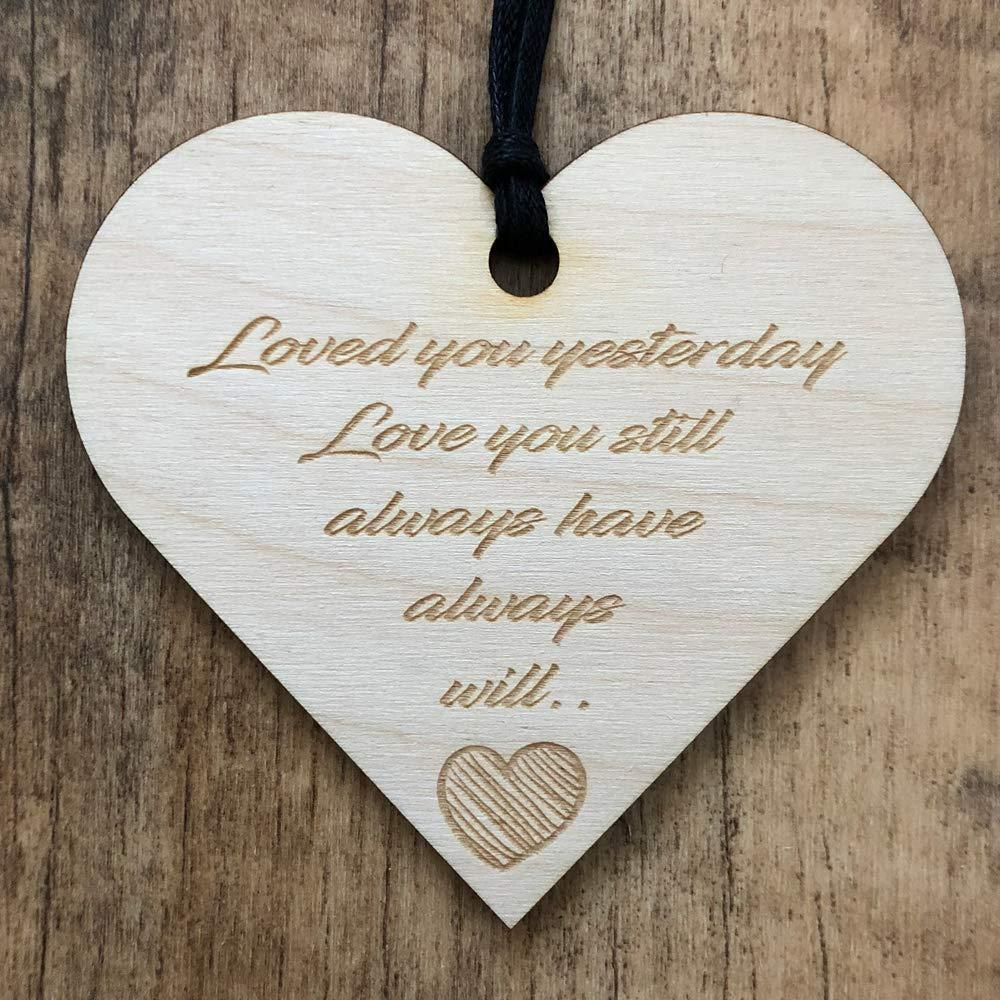 Loved You Yesterday Always Will Heart Wooden Plaque Gift - ukgiftstoreonline