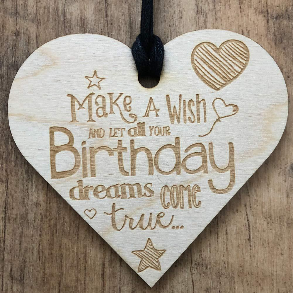 Make A Wish & Let All Your Birthday Dreams Come True Wooden Plaque Gift - ukgiftstoreonline