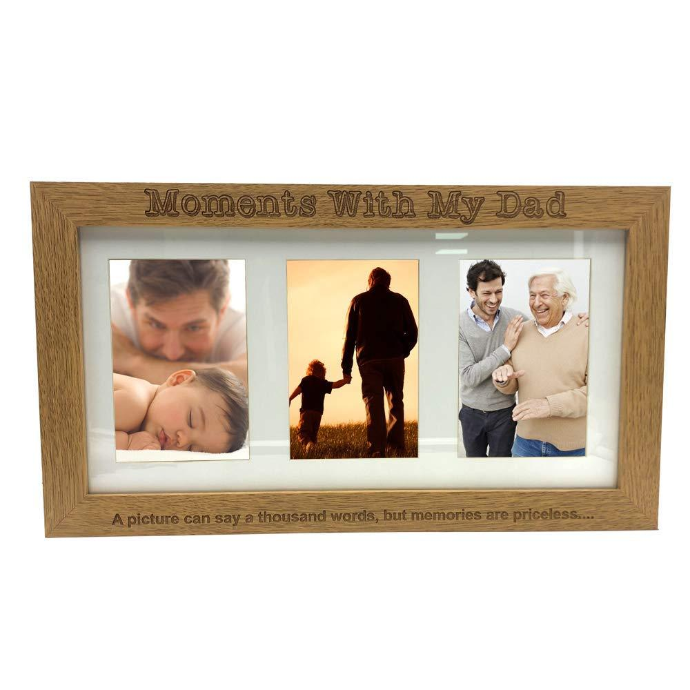 "Moments With Dad Wooden Triple picture photo frame 6"" x 4"" - ukgiftstoreonline"