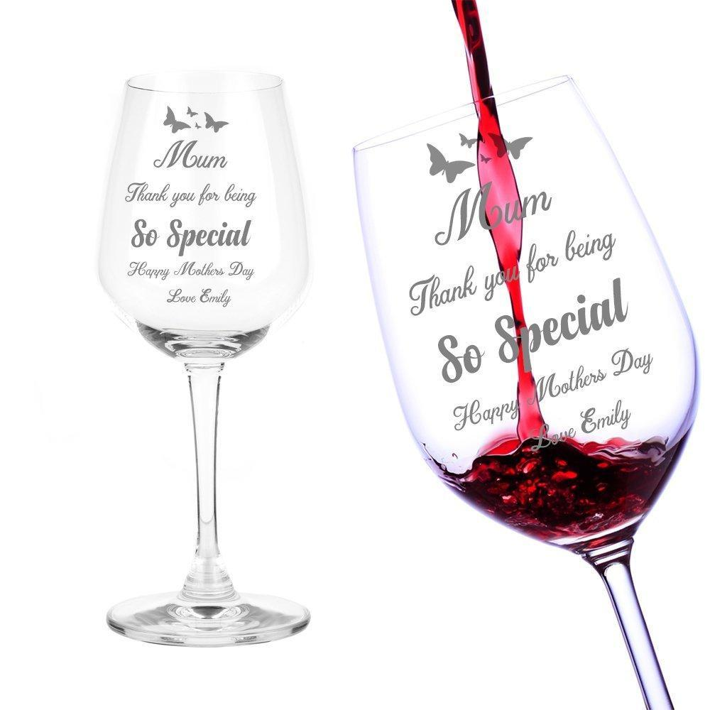 Mothers Day Mum Gift Personalised Engraved Wine Glass - ukgiftstoreonline