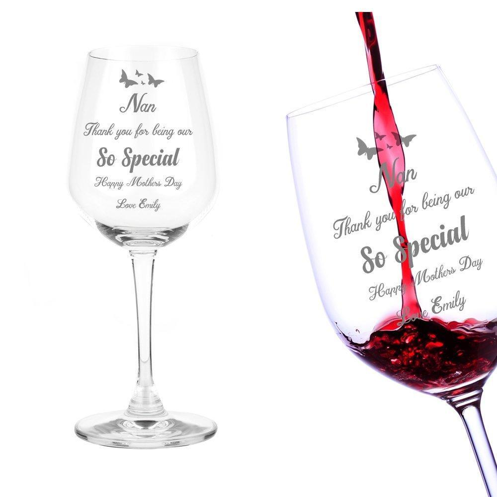 Mothers Day Nan Gift Personalised Engraved Wine Glass - ukgiftstoreonline
