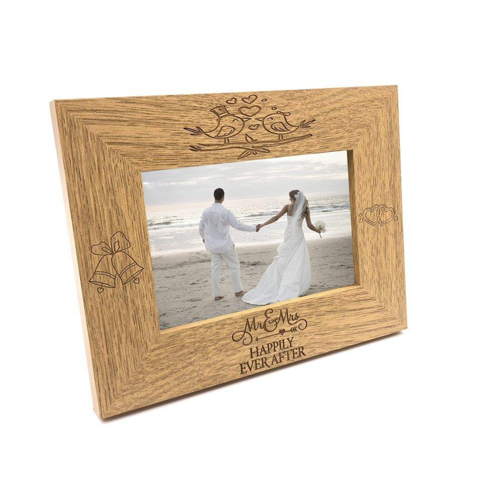 Mr and Mrs Happily Ever After Wooden Wedding Photo Frame Gift - ukgiftstoreonline