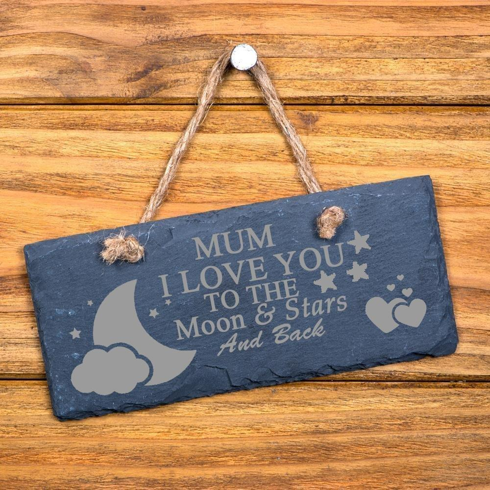 Mum I Love You To The Moon and Back Slate Plaque - ukgiftstoreonline