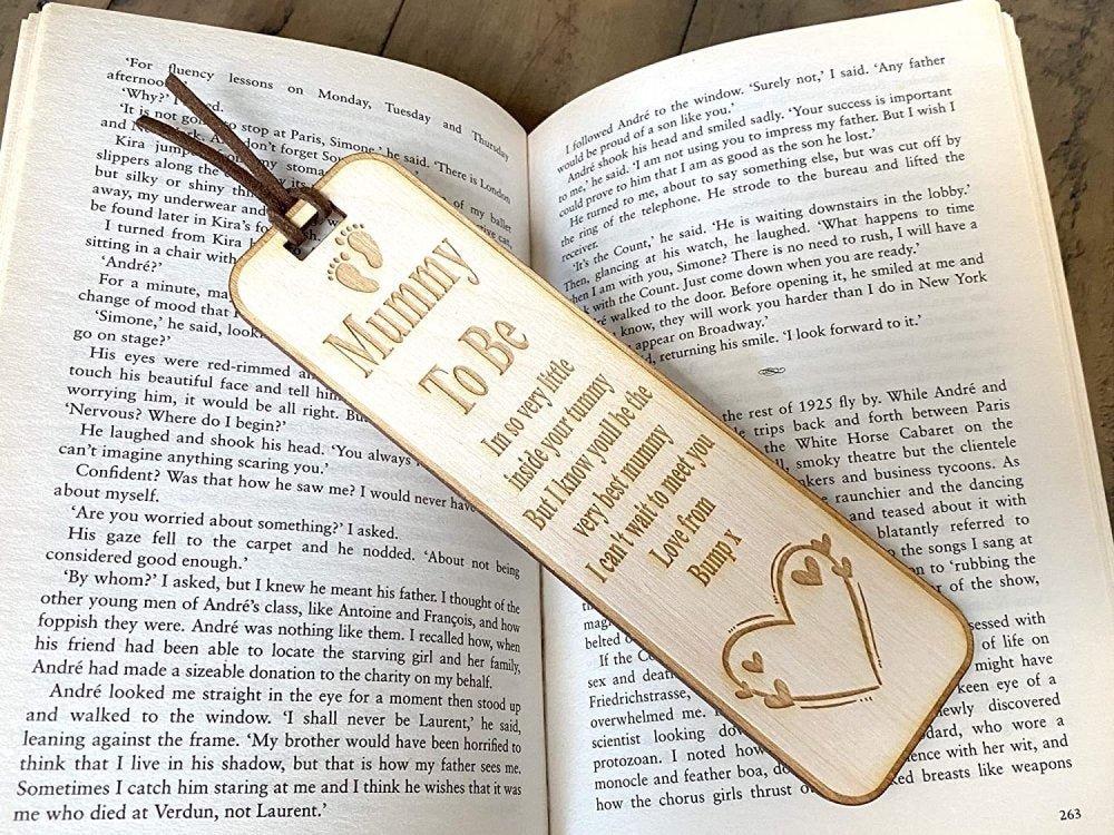 Mummy to Be Wooden Bookmark Gift New Baby from Bump - ukgiftstoreonline
