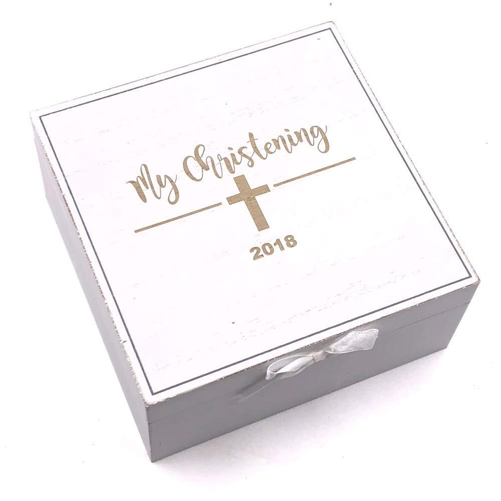 My Christening White Wooden Keepsake Box Gift - ukgiftstoreonline
