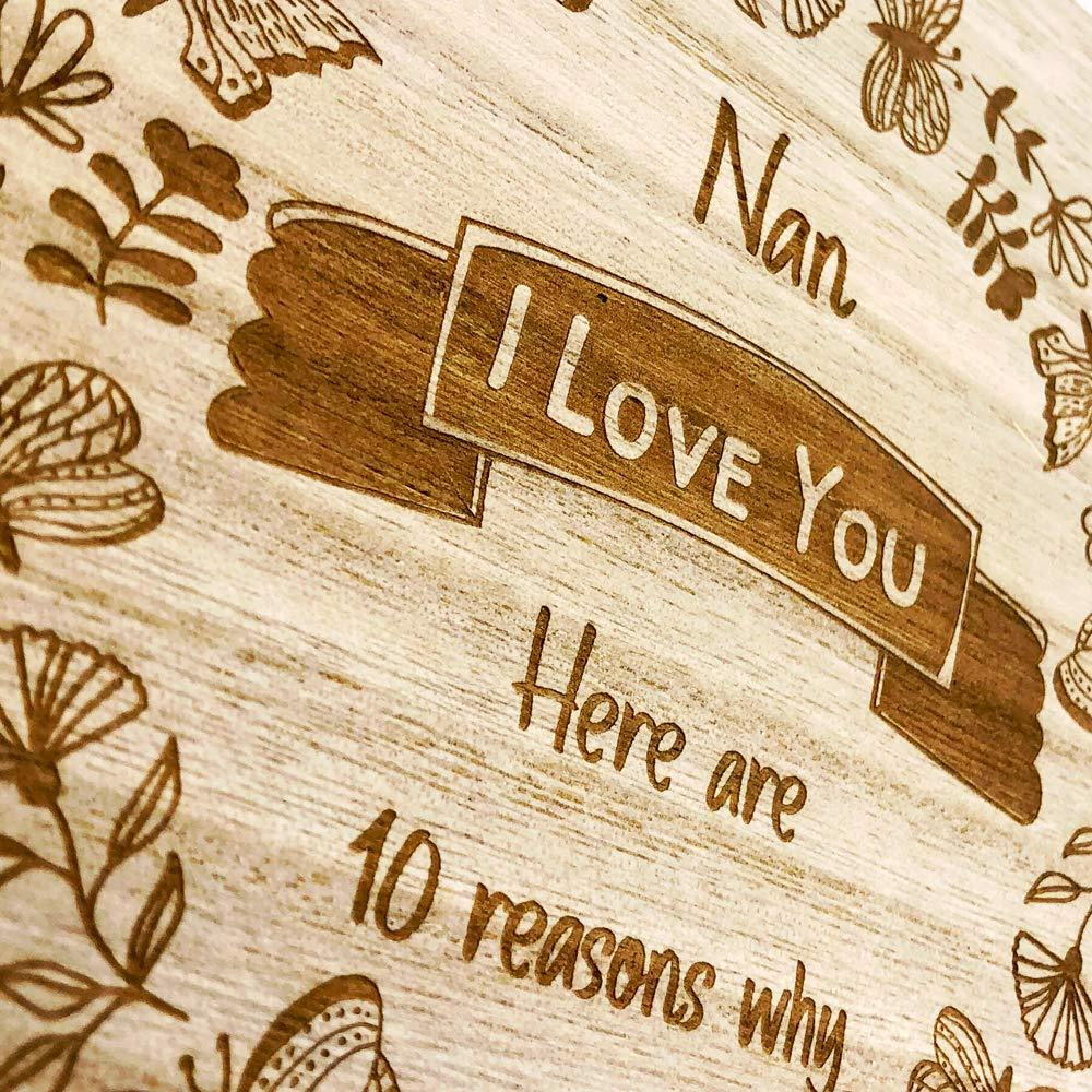 Nan Gift 10 Reasons why I Love You Wooden Box and Hearts - ukgiftstoreonline