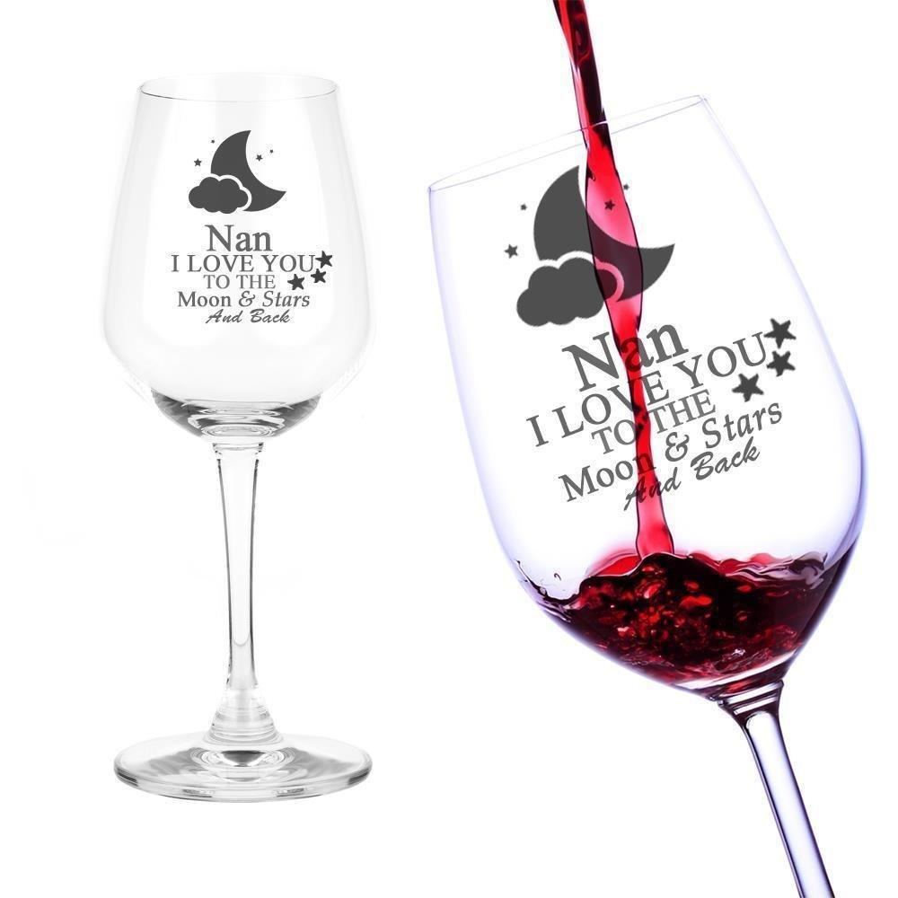 Nan Gift I Love You To The Moon Engraved Wine Glass - ukgiftstoreonline