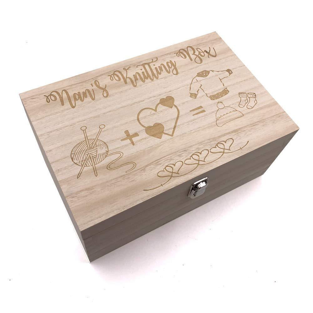 Nan's Knitting Box Large Wooden Keepsake Box Gift - ukgiftstoreonline