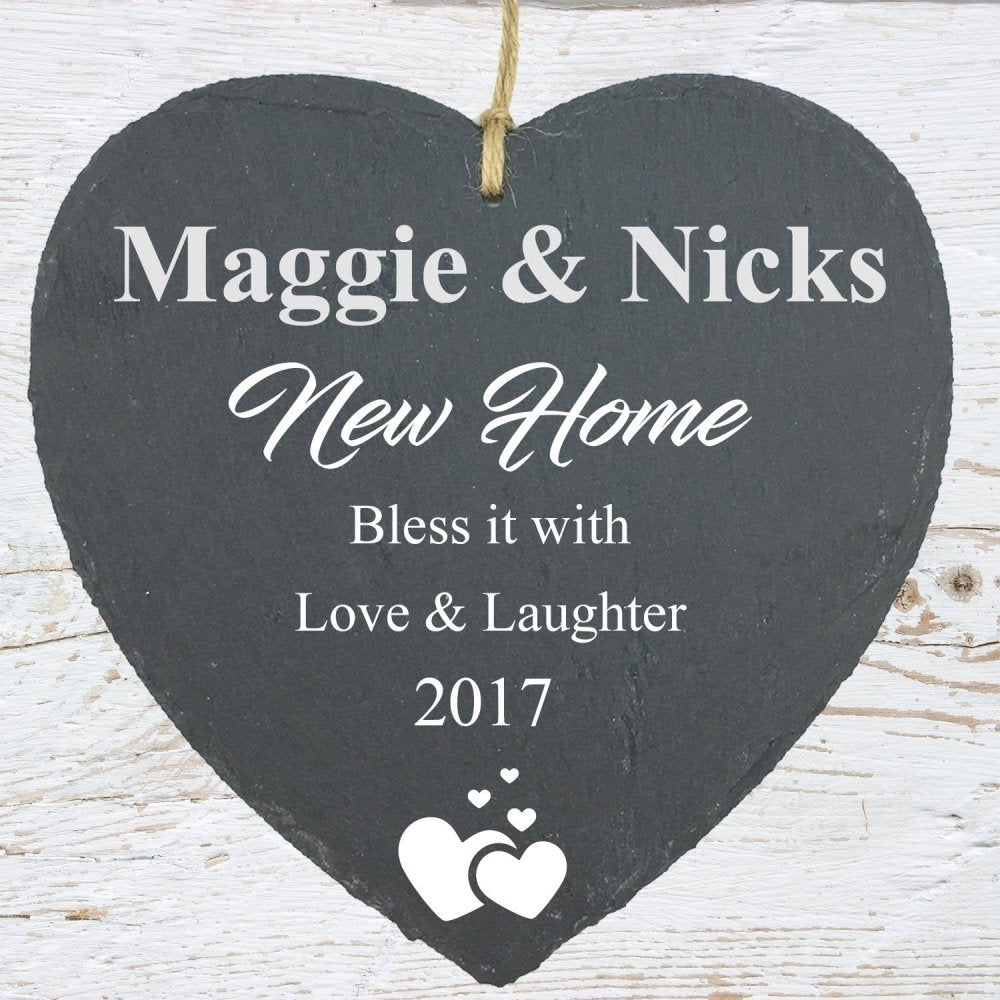 New Home Gift Large Slate Heart Personalised Plaque - ukgiftstoreonline