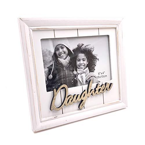 One Word Frames White Daughter Photo Frame Gift Vintage Style Shabby Finish 4 x 6 - ukgiftstoreonline