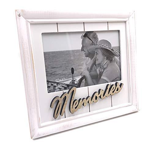 One Word Frames White Memories Photo Frame Gift Vintage Style Shabby Finish 4 x 6 - ukgiftstoreonline