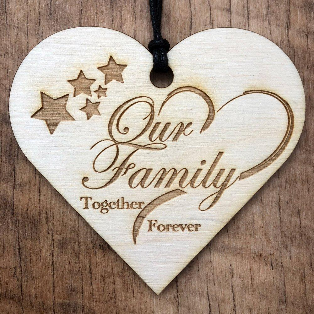 Our Family Together Forever Hanging Heart Plaque Gift - ukgiftstoreonline