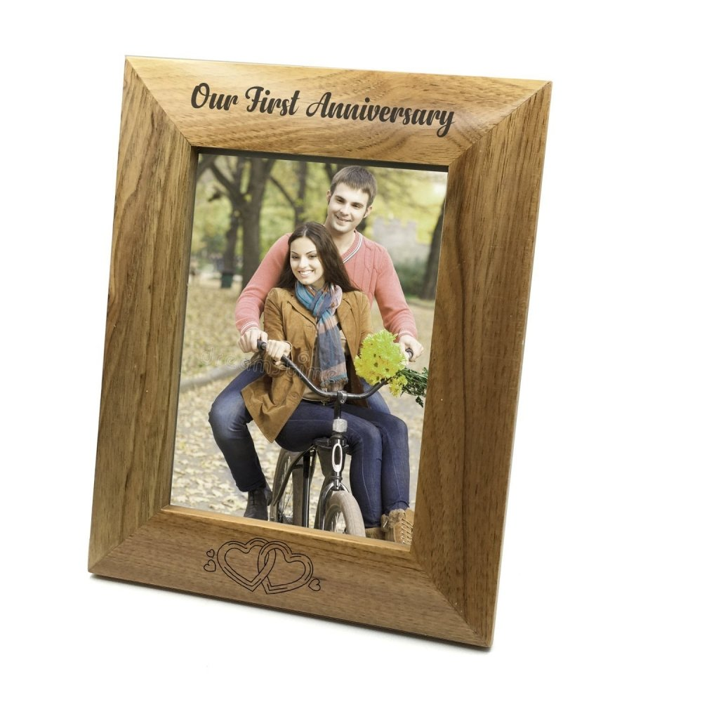Our First Anniversary Wooden Photo Frame Gift - ukgiftstoreonline