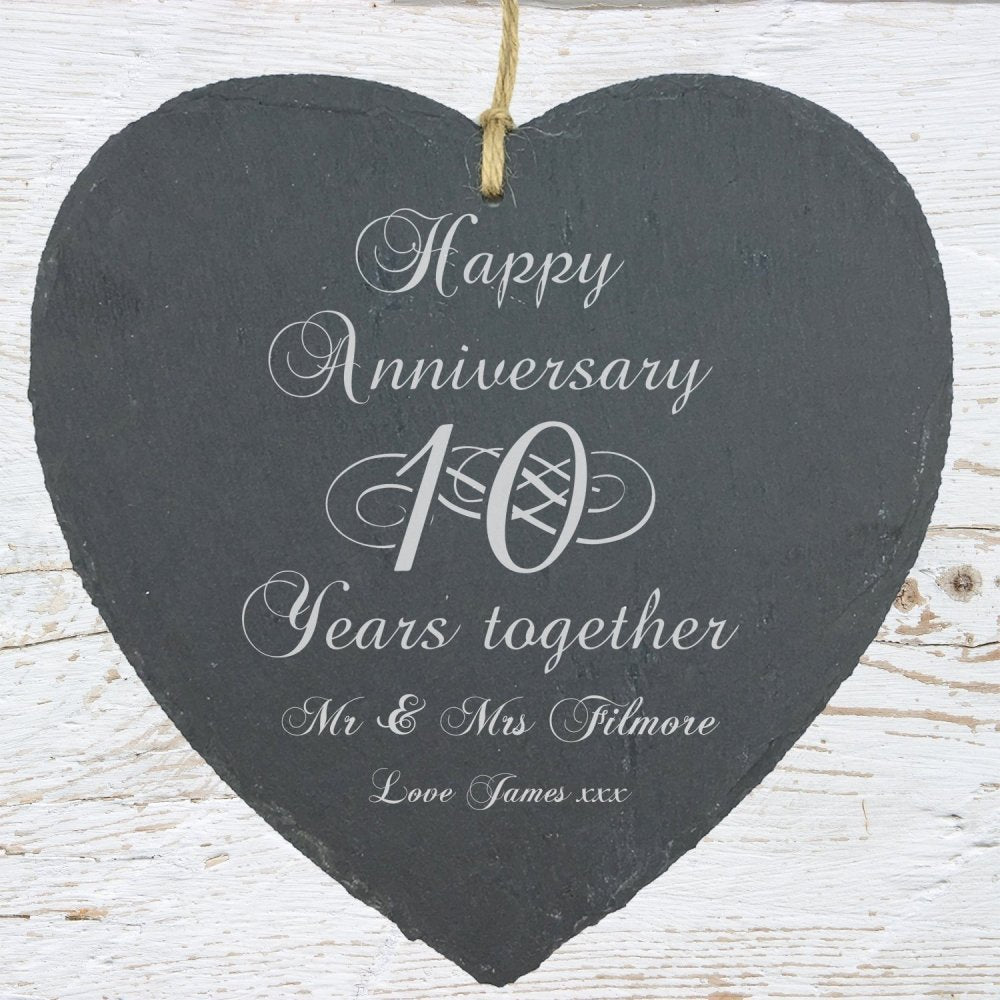 Personalised 10th Anniversary Gift Large Heart Slate - ukgiftstoreonline