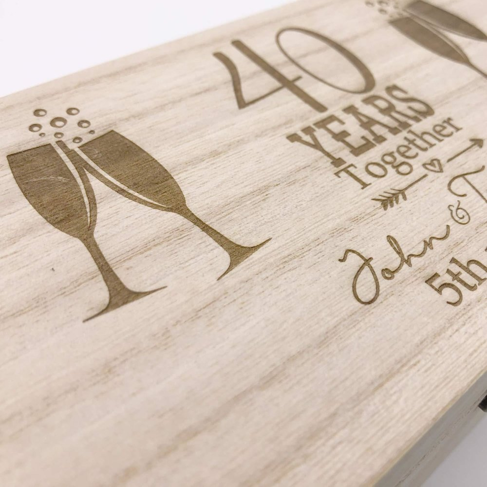 Personalised 40th Anniversary Champagne or Wine Bottle Holder Gift - ukgiftstoreonline