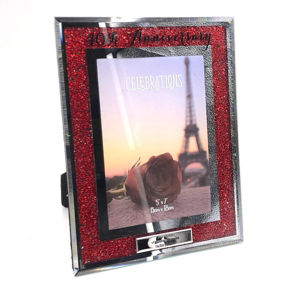 Personalised 40th Ruby Wedding Anniversary Crystal Border Photo Frame - ukgiftstoreonline