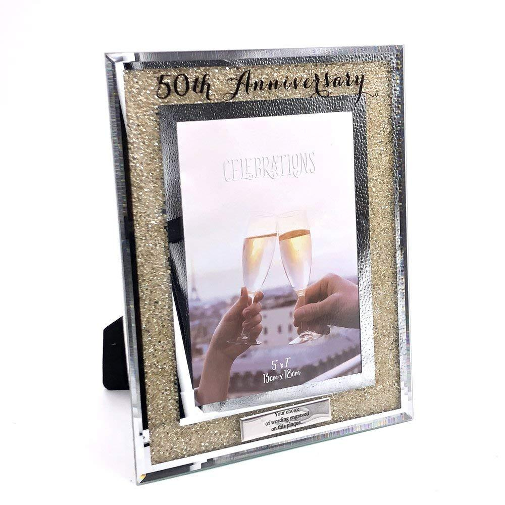 Personalised 50th Golden Anniversary Crystal Border Photo Frame - ukgiftstoreonline