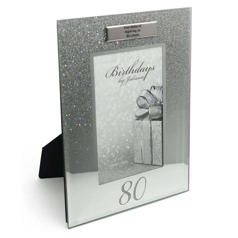 Personalised 80th Birthday Photo Frame Silver Glitter Gift - ukgiftstoreonline