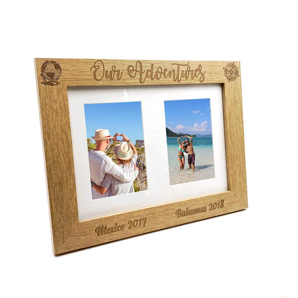 Personalised Adventures Travel Holiday Wooden Double photo frame - ukgiftstoreonline