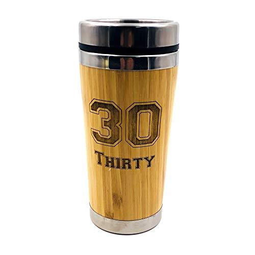 Personalised Any Age 18th, 21st, 30th, 40th, 50th, 60th, 70th, 80th Birthday Reusable Sustainable Bamboo Travel Mug - ukgiftstoreonline